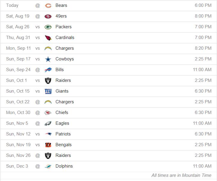 Broncos Schedule